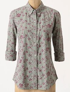 f1503d02 Image is loading Odille-Embroidered-Eyelet-Buttondown-Shirt-Size-0-Green-