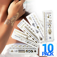 10x Metallic Tattoo Gold Silver Temporary Jewelry Body Art Stickers Sheets Lot