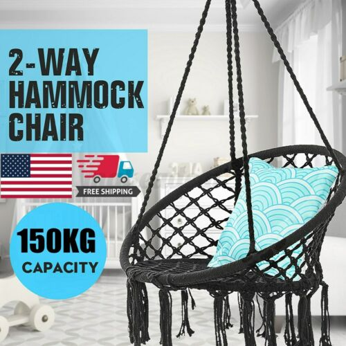 330lbs Hammock Chair Hanging Rope Relax Macrame Swing Seat Cotton Home