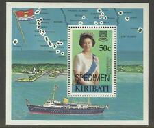 KIRIBATI 1982 QUEEN ELIZABETH ROYAL VISIT Map Flag Souvenir Sheet MNH