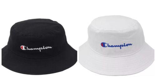2018 Champion Bucket Cap Hat Black White Snapback Free Size Adjustable New