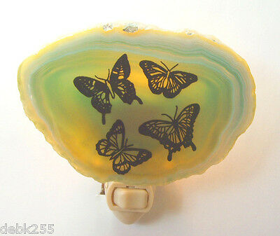 Night Light Butterflies Nature Genuine Brazilian Agate Stone #04