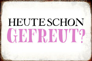 Today Already Gefreut? Tin Sign Shield Arched Metal 20 X 30 CM R1028