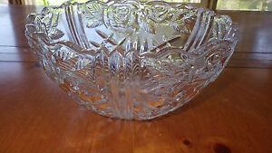 Decorative Cut Glass Bowl Rose Design Scalloped sawtooth edge Heavy