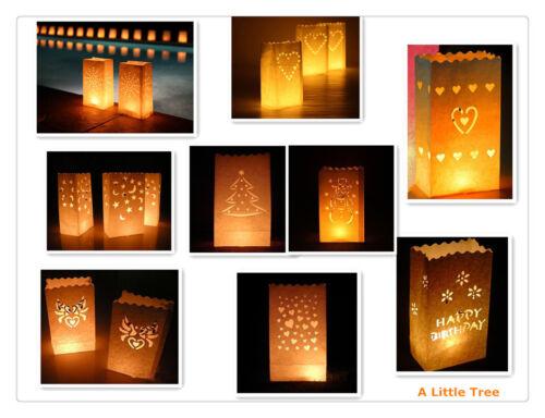 10 xluminary Candela Lanterna Sacchetti Di Carta Festa Matrimonio Compleanno Celebrazioni