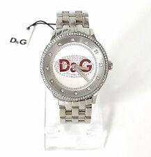 D&G Dolce & Gabbana Damen oder Herren Uhr silber Edelstahl Steine DW0144 Neu