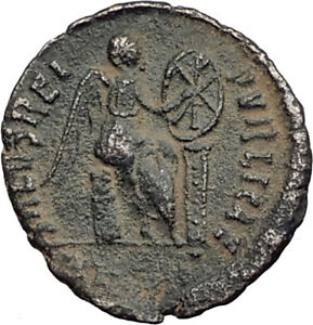 EUDOXIA-Arcadius-Wife-401AD-Authentic-Ancient-Roman-Coin-VICTORY-CHI-RHO-i64801