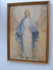 original vintage religious lithograph print of Mater Gratiae, 1900-1949,framed