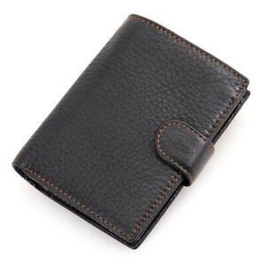 Mens Leather Wallets Trifold Wallet Flip Up ID Holder Card Coin Pocket Black UK