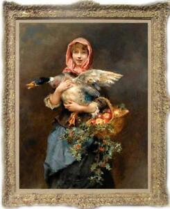 Old-Master-Art-Antique-Oil-Painting-Portrait-woman-duck-on-canvas-24-034-x36-034