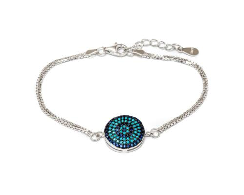 Sterling Silver Genuine Turquoise Circle Flower Charm Bracelet