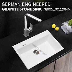 Details About 780x510mm Premium White Granite Stone Single Bowl Laundry Kitchen Sink Food Safe