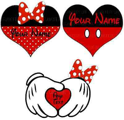 MICKEY MINNIE MOUSE HEART MARRIAGE IRON ON HEAT TRANSFER PERSONALISED LOT MH