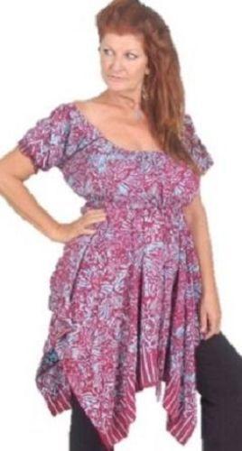 Plum Blau peasant top blouse asym batik art style OS M L XL 1X 2X C925
