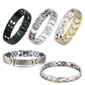 Hottime-Titanium-Steel-Magnetic-Far-Therapy-Negative-Ion-Bracelet-Pain-Relief-US