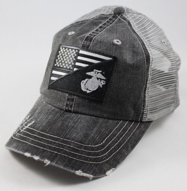 USMC United States Marine Corps - EGA-US Flag Patch Mesh Hat Black & Silver