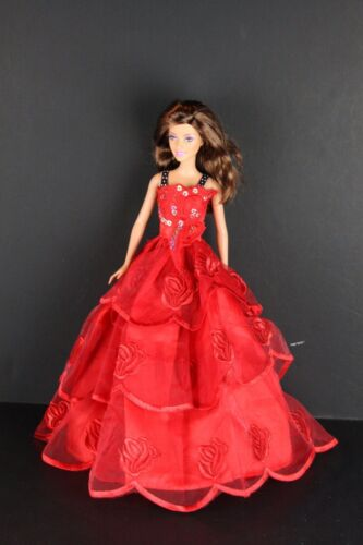 Red Ball Gown with Silver Sequins and Flower Lace Made to Fit Barbie Doll