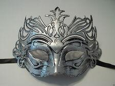 Pewter Antique Silver Venetian Laser Cut Mardi Gras Masquerade Half Mask Crown