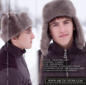 Image is loading ArktikA-Fur-Russian-Ushanka-Sheepskin-Trapper-Aviator-Hat- 1fbe1401e627