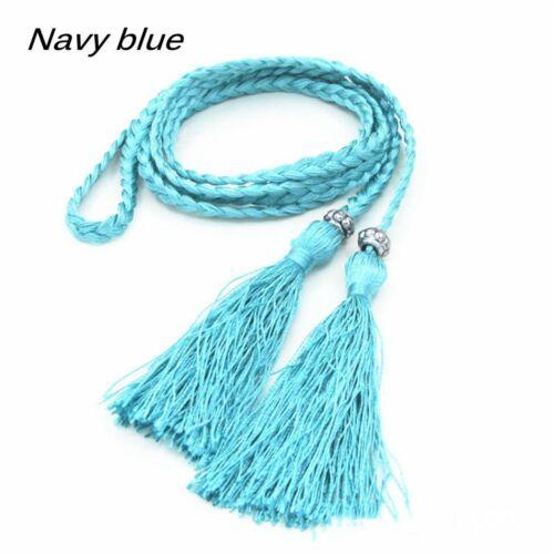 Fashion Belt Braided Belt Woven Tassel Self-Tie Thin Chain Waist Bow Tie Rope