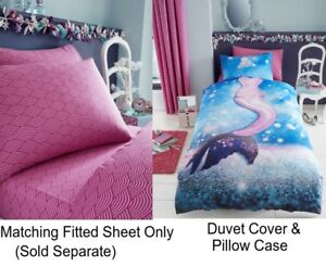 MERMAID DUVET QUILT COVER SETS KIDS GIRLS SINGLE BEDDING MATCHING FITTED SHEETS