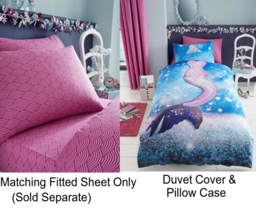 Mermaid Selfie Girls Kids Single Duvet Quilt Cover Children Bedding Set