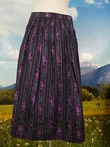fc299bb603cd Details zu Original Alpen Trachtenrock schwarz Baumwolle Blumendruck  Trachten Rock Gr.46