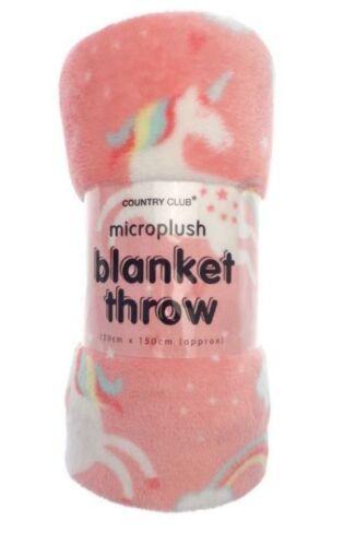 Super Soft Pink Unicorn Plush Blanket Throw pour enfants filles lit ou canapé 120x150cm
