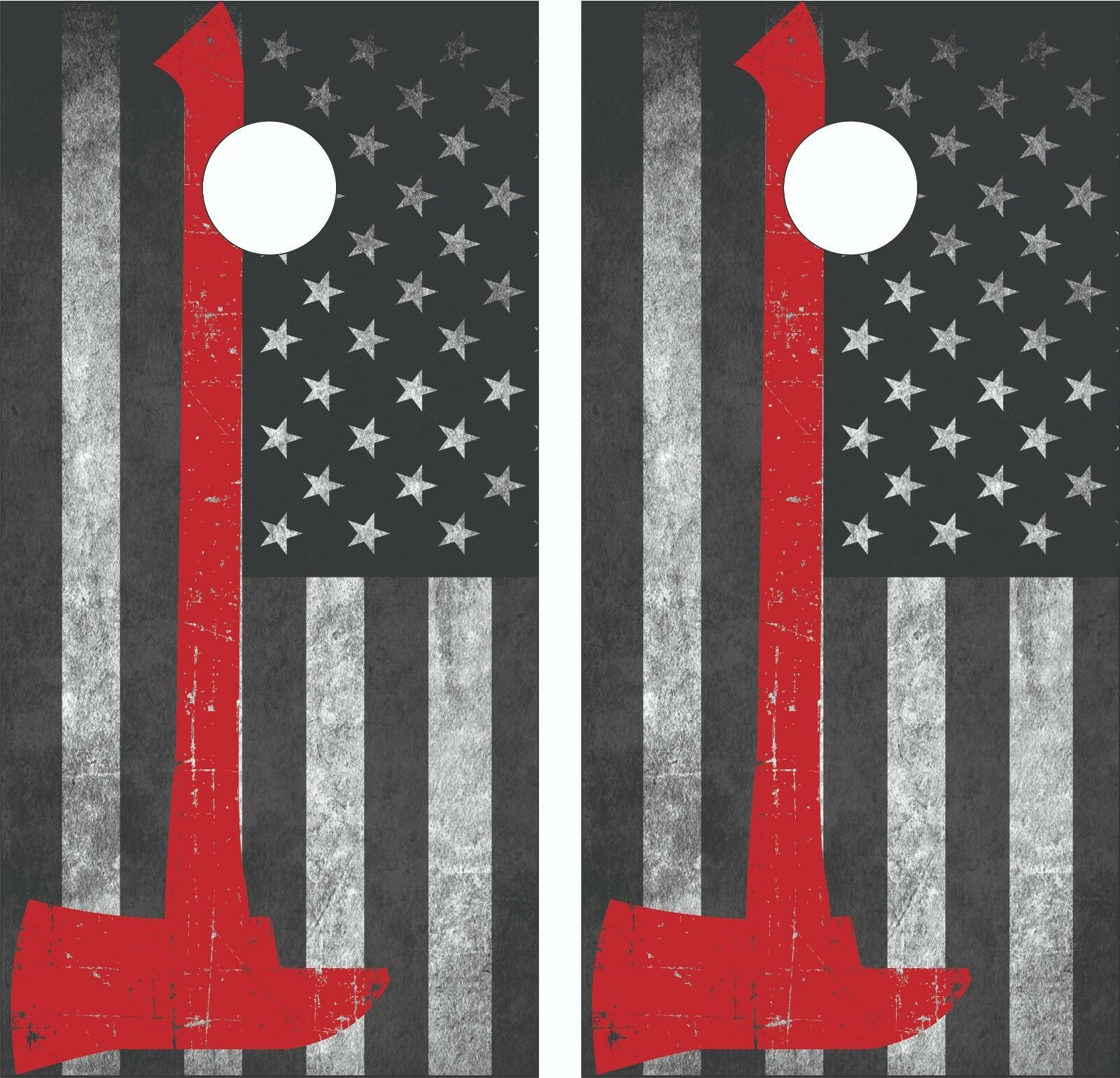 Thin Red Line Axe  Grunge Flag Cornhole Board Skin Wrap Decal Set -Laminated  online retailers
