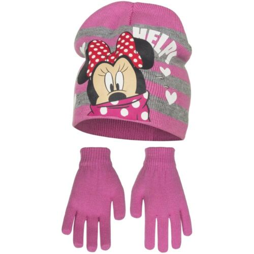Disney Minnie Mouse Enfants Filles strickset 2 Pcs Bonnet 54+ Gants Rose