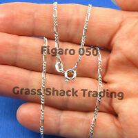 Figaro 1.8mm 925 Sterling Silver Necklace Chain Wholesale 16 18 20 24 30 Inch