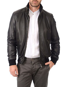 Giacca-Giubbotto-Uomo-in-di-PELLE-100-Men-Leather-Jacket-Veste-Homme-Cuir-R79a