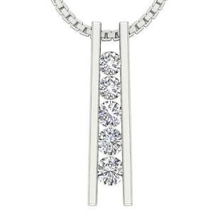 Journey-Pendant-Necklace-Natural-Round-Cut-Diamond-VS1-E-0-50-Ct-14K-White-Gold