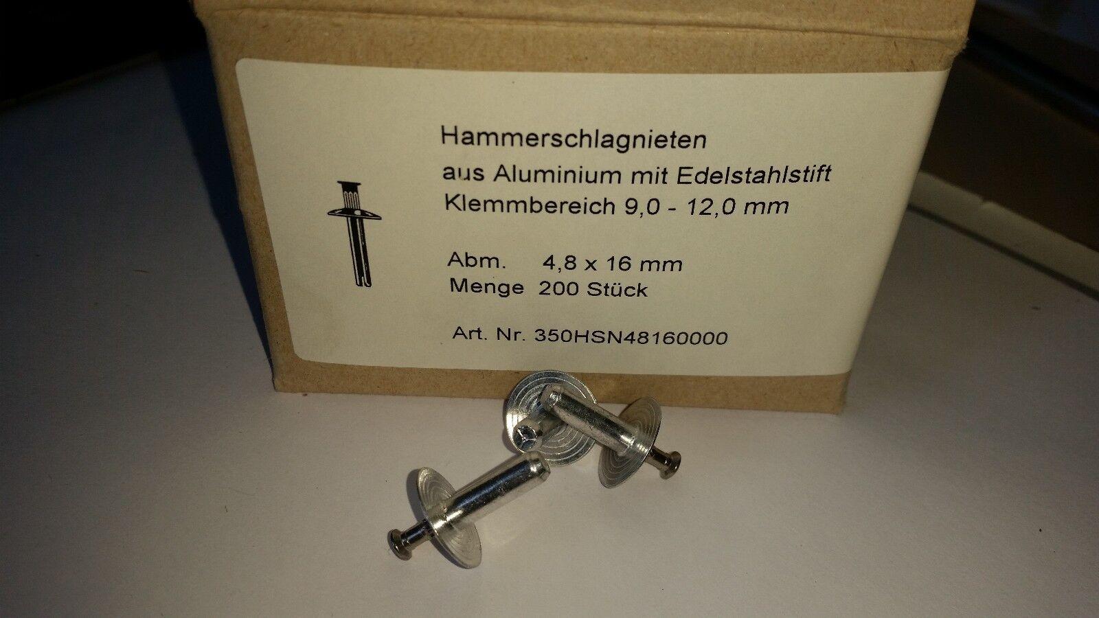 Hammerschlagnieten Alu A2 4,8 x 16 mm Flachrundkopf