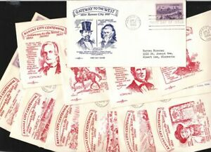 1950-Pentarts-Sc-994-set-of-11-different-cacheted-FDCs-Kansas-City