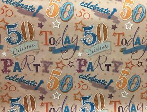 Image Is Loading 50th Birthday Wrapping Paper Age 50 Gift