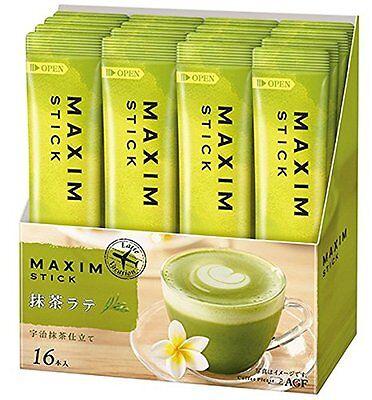 Maxim AGF Japan Menu Uji matcha green tea Cafe Latte powder Box of 16 Sticks