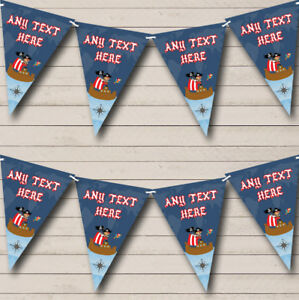 Blue Pirate Ship Personalised Childrens Party Bunting