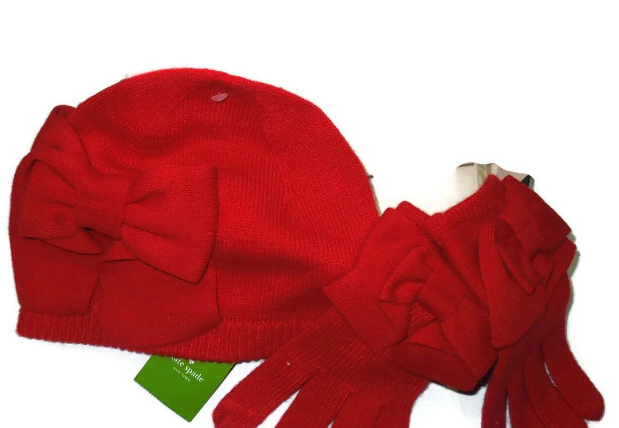 Kate Spade knit Red Dorothy Bow winter Gloves & Hat set in gift box retail