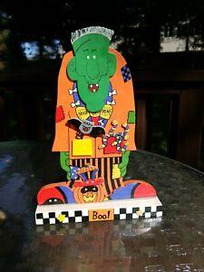 Vtg-11-034-Hand-Made-Painted-Frankenstein-Monster-Wooden-Plaque-Halloween-Decor