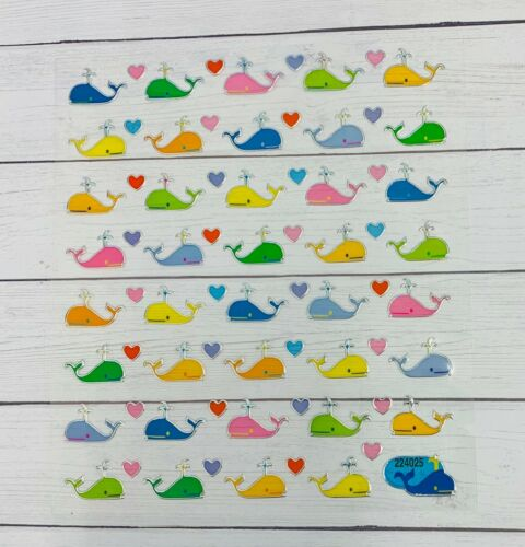 Colorful Whale /& Hearts Stickers Papercraft Planner Supply Party DIY Crafts