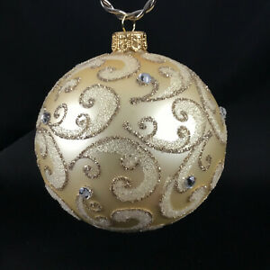 Champagne Stones Mouth Blown Hand Decorated European 4 Round Holiday Ornament Ebay