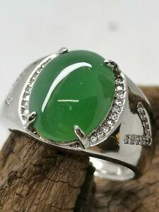 Translucent Icy Ice Green Burmese Jadeite Jade Ring/糯冰阳绿天然缅甸翡翠戒指/ナチュラルビルマ翡翠リング
