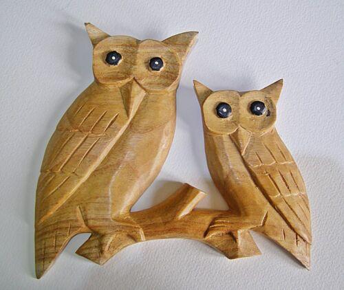 Deux hibou en bois mural bois naturel sculpté à la main 22 cm commerce équitable