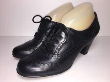 EUROSTEP Gabrielle Black Leather Oxford Heels Rockabilly Brogue Wingtip Sz 7.5
