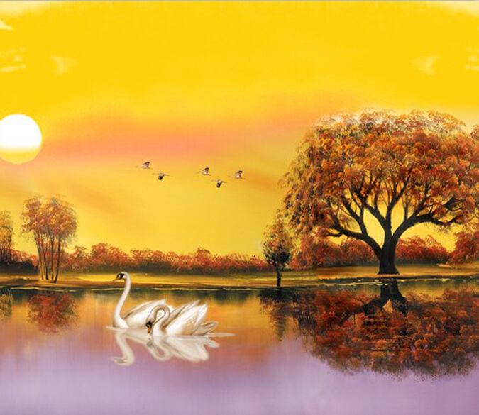 3D Schönen schwan, der SEE Fototapeten Wandbild Fototapete BildTapete Familie DE