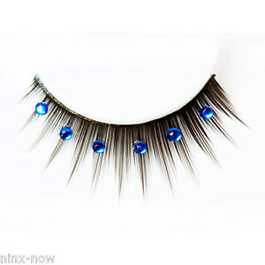 Black Deluxe False Eyelashes with Red Diamantes and glue