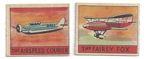 2 series 48 AVIATION R132 cards #337 Fairey Fox #338 Airspeed Courier airplanes