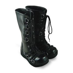 Damen Details Punk Metal Schuhe Shoes Trends Sm Stiefel Schwarz Cool Steam Gothic Boots Zu KcTJlF1