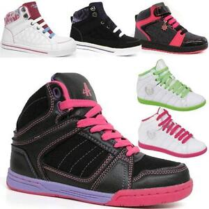 GIRLS-ANKLE-BOOTS-KIDS-HIGH-HI-TOPS-TRAINERS-BASKETBALL-DANCE-SCHOOL-SHOES-SIZE